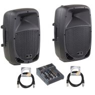 Soundsation GO-Sound 10A - Set Boxe Active - 480W - Mixer si Cabluri - Music and More