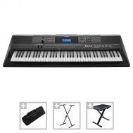 Yamaha PSR-EW400 - Set Orgă Electronică + Husa + Stativ + Bancheta + 3 Seturi Ritmuri Folclor - Music and More