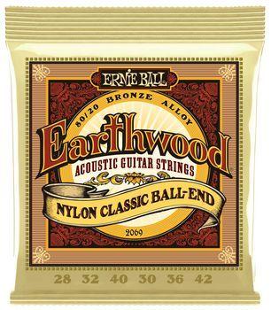 Ernie Ball Earthwood Nylon Ball End 80/20 Bronze 2069 - Set Corzi Chitara Clasica - Music and More